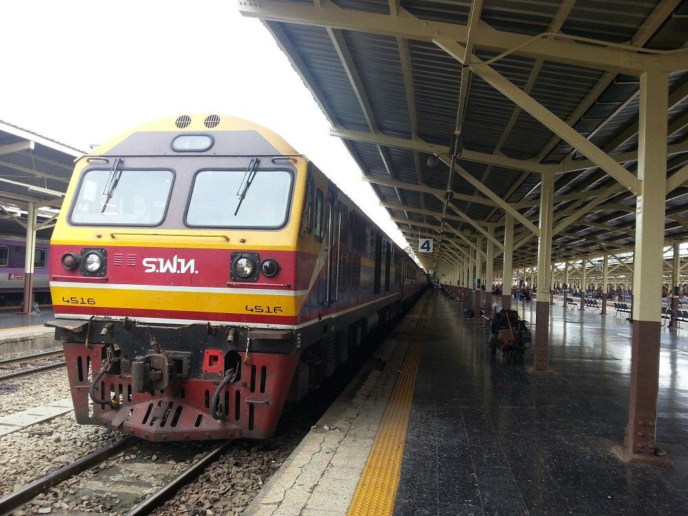 The 15.10 Train to Surat Thani ready to depart Bangkok Train Station